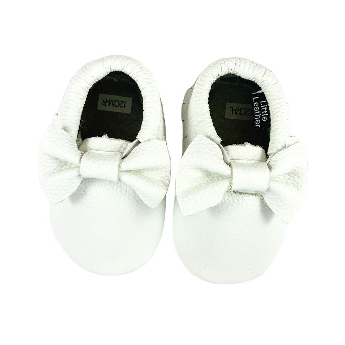 White Leather Bow Moccasin Above View