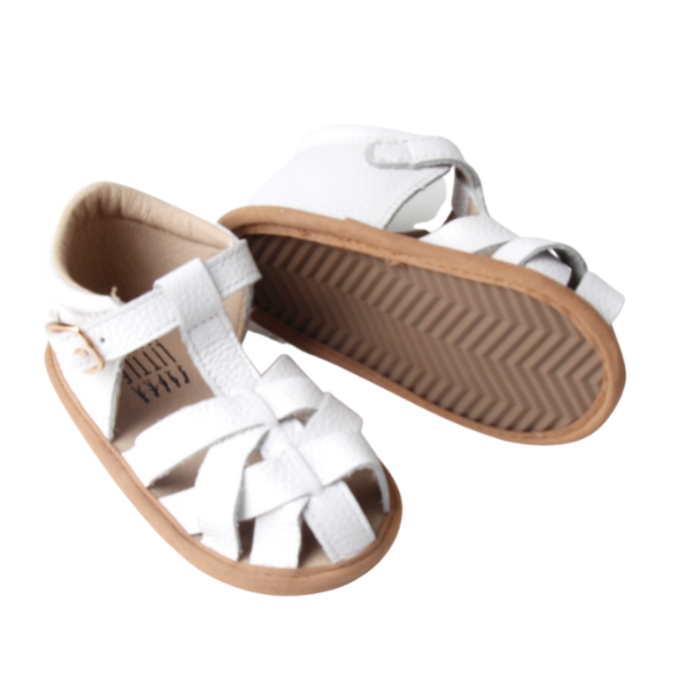 White Leather Baby Sandals | Grip Sole