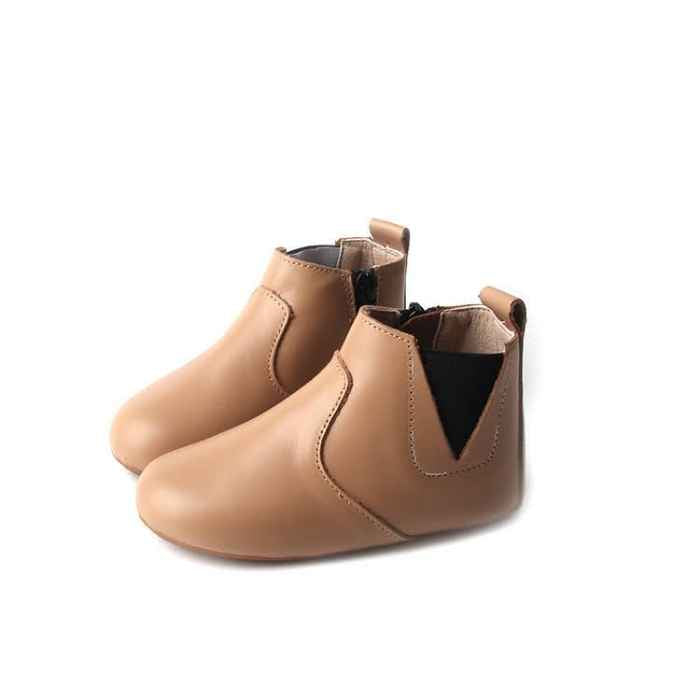 Leather toddler boots. Light Tan Colour. Side view. Elastic sided ankle. Inside ankle zip. Detail stitching over toe