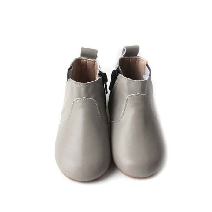 View from above soft grey leather toddler boots