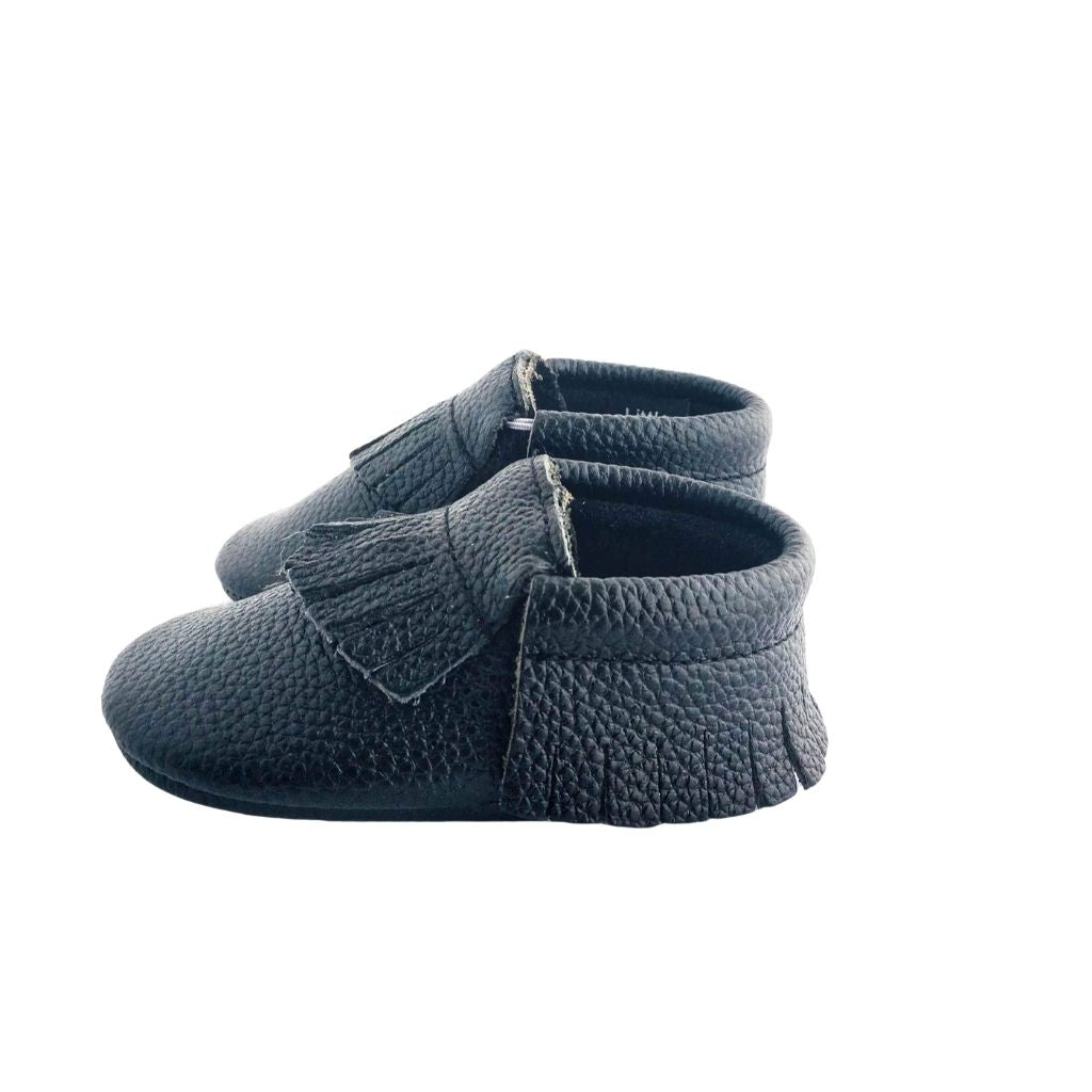 Jett Black Baby Moccasins | Soft Sole