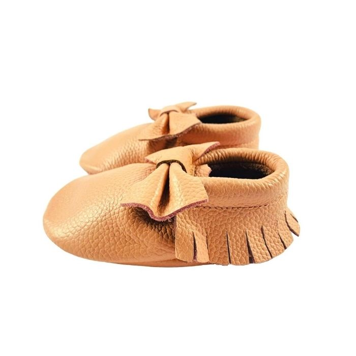 Blush Pink Leather Bow Moccasins side view
