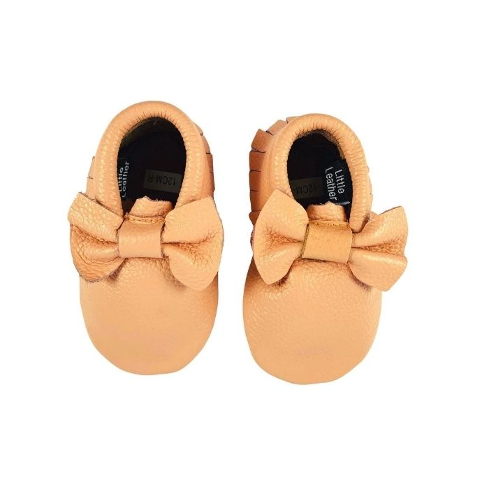 Blush Pink Leather Bow Moccasins above view