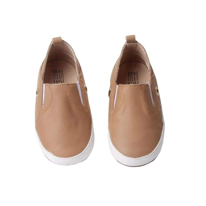 Chocolate Coloured Slip on shoes above view