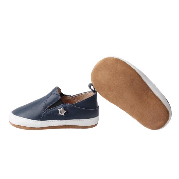 Navy Leather Toddler Shoes suede sole, pull on style sole view