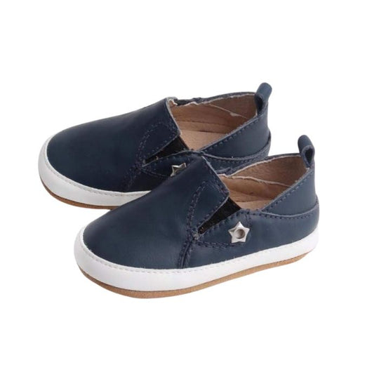 Navy Leather Toddler Shoes suede sole, pull on style side view