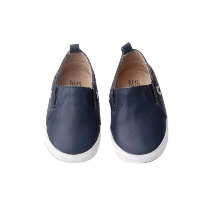 Navy Leather Toddler Shoes grip sole, pull on style top view