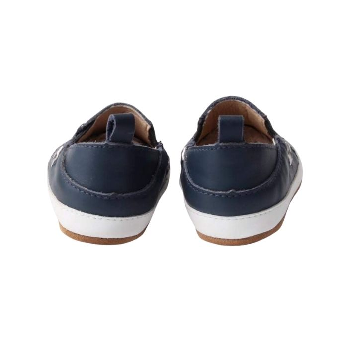 Navy Leather Toddler Shoes suede sole, pull on style rear view