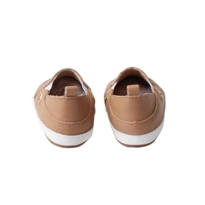 Chocolate Coloured Slip on shoes with grip rear  view