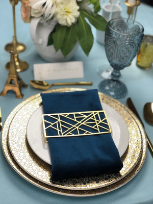 Abstract Style Napkin Wrap Matte Gold
