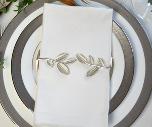 Leaf Napkin Wrap Set (4) - Silver