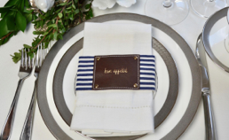 Fabric/Leather Style Napkin Wrap SET(4) - Navy Stripe