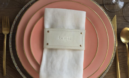 Leather Style Napkin Wrap SET (4) - Off White