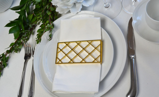 Large Trellis Napkin Wrap Set (4) Matte Gold