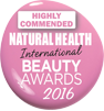 Natural health international beauty awards recognition badge