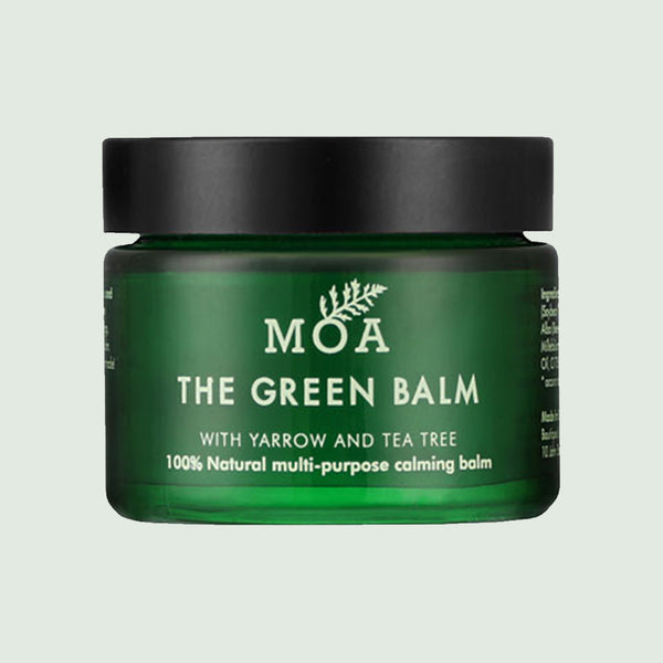 MOA The Green Balm tub on green background