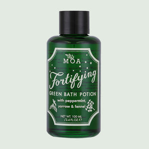 MOA Fortifying Green Bath Potion bottle on green background
