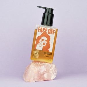 Neighbourhood Botanicals Face Off Cleanser pump dispenser on peach background