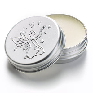 MOA The Green Fairy Hand & Lip Balm silver tin with fairy etched into the lid, tin removed from its packaging