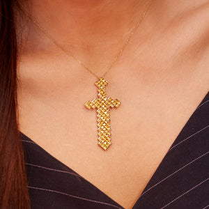 Pixel Sword Necklace | 18K Gold