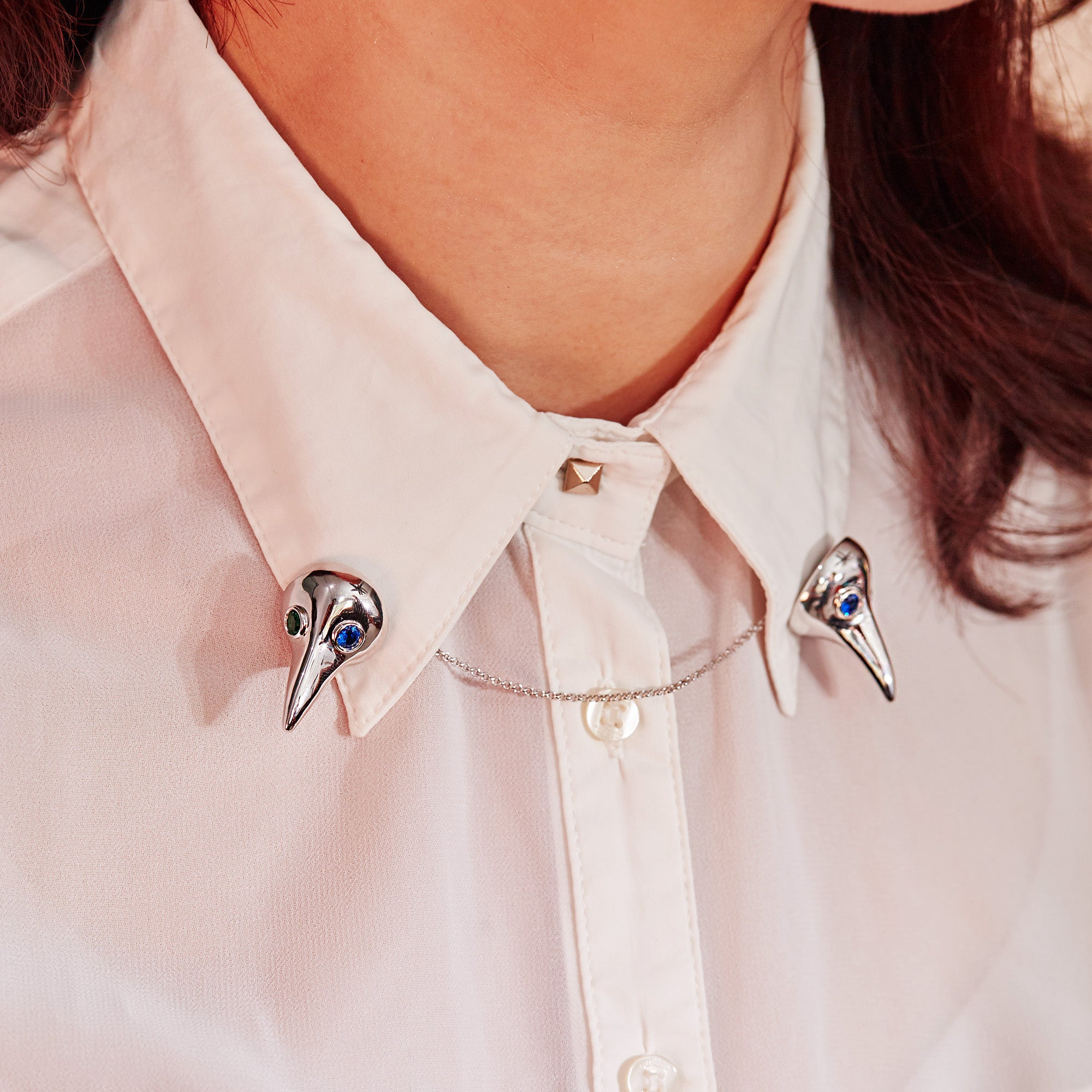 Bird Collar Brooches | 925 Silver + Synthetic Zircon