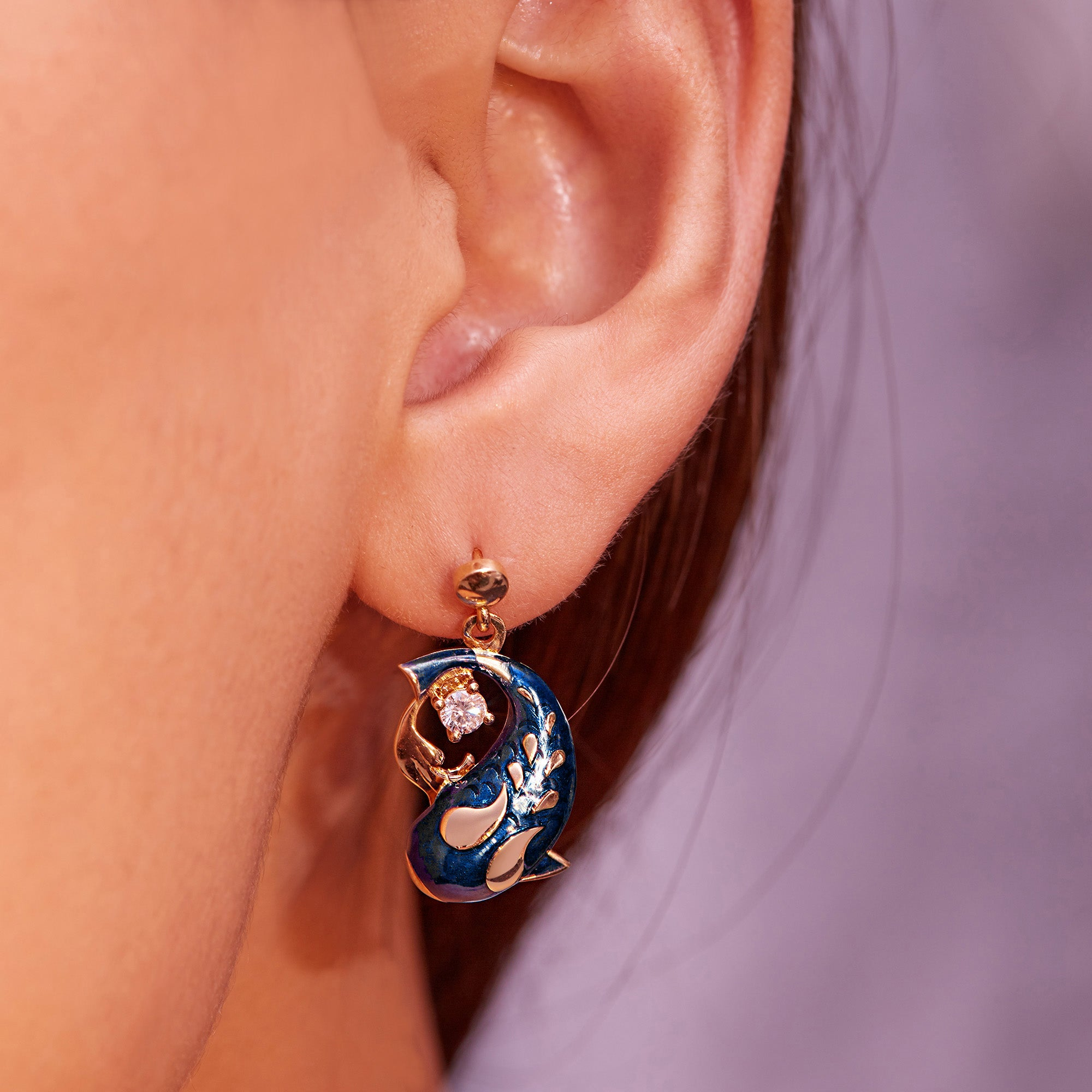Zen Koi Earrings | 18K Gold + Diamonds + High-temperature Vitreous Enamel