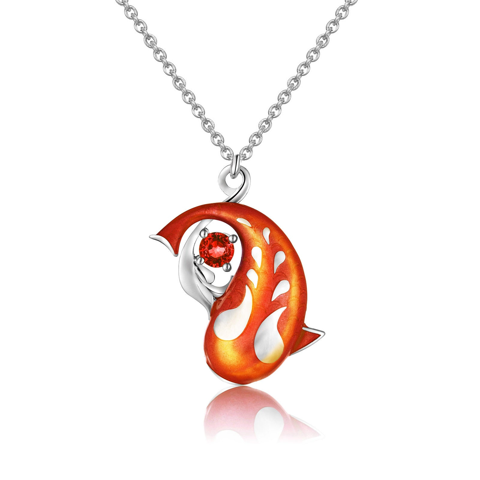 Zen Koi Necklace | Sterling Silver + Orangy-red Epoxy Enamel