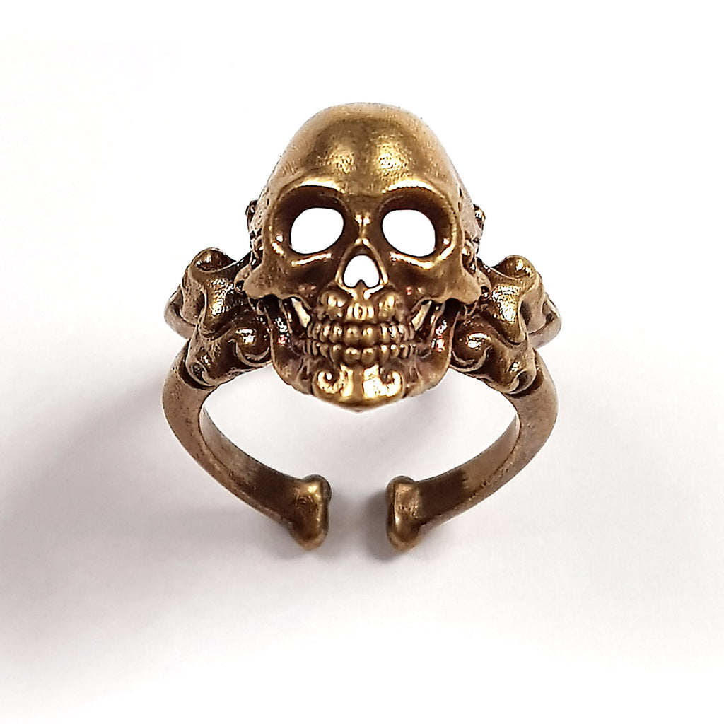 CrossBones Adjustable Skull Ring