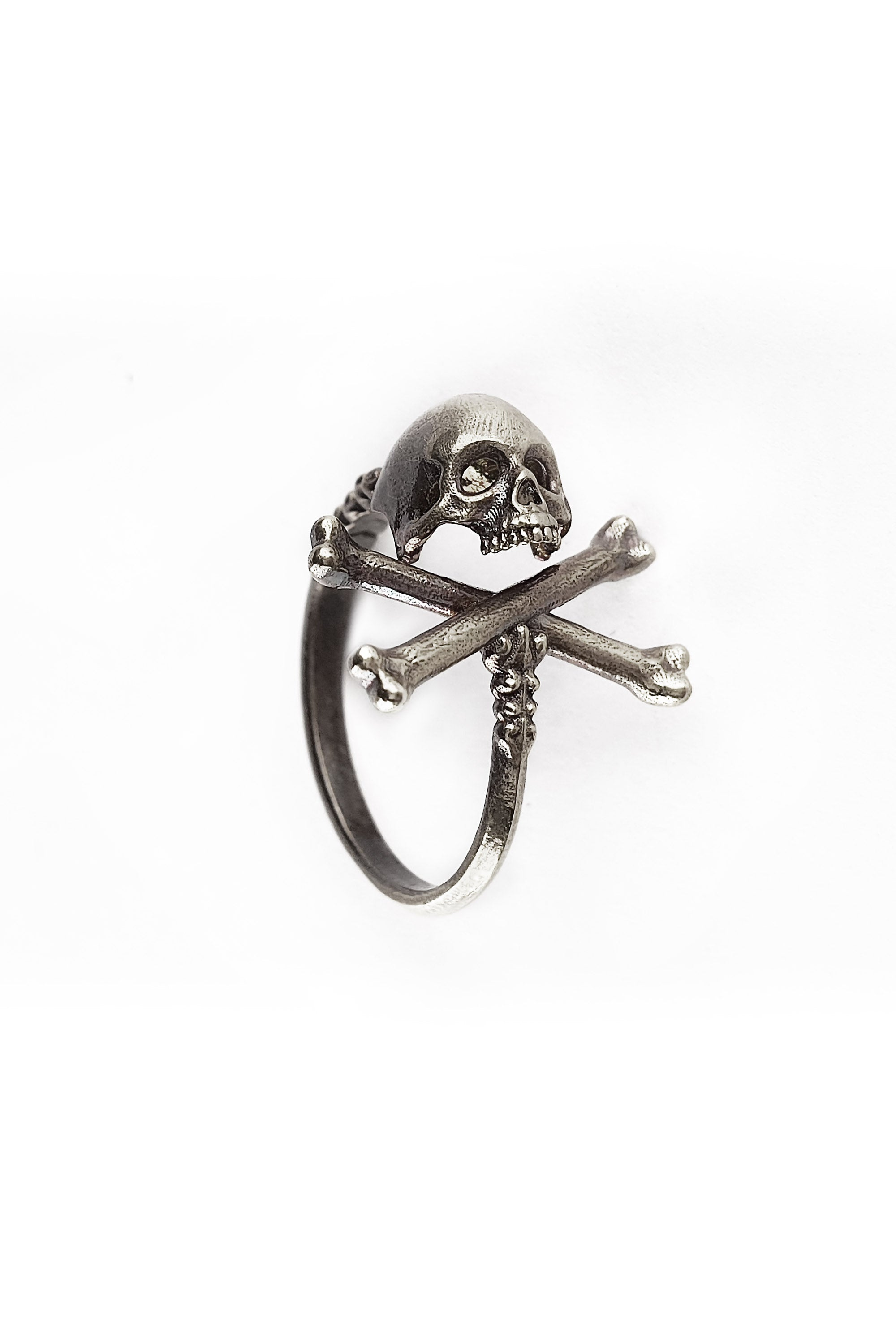Cross Bones Adjustable Sterling Silver Skull Ring