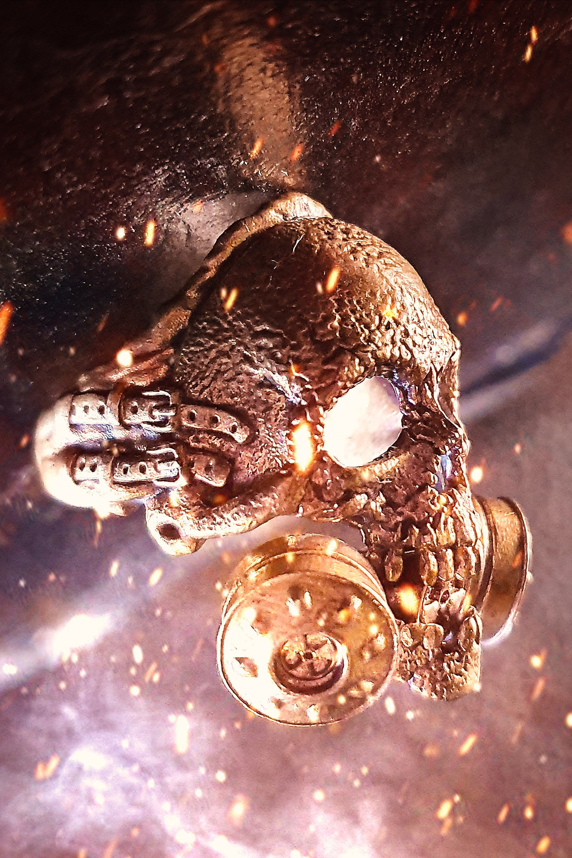 Nuclear Fallout Hero Sterling Silver Skull Ring