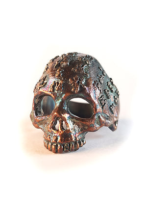 Asian Scripture Half Skull Sterling Silver Ring