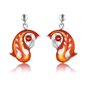 Zen Koi Earrings | Sterling Silver + Orangy-red Epoxy Enamel