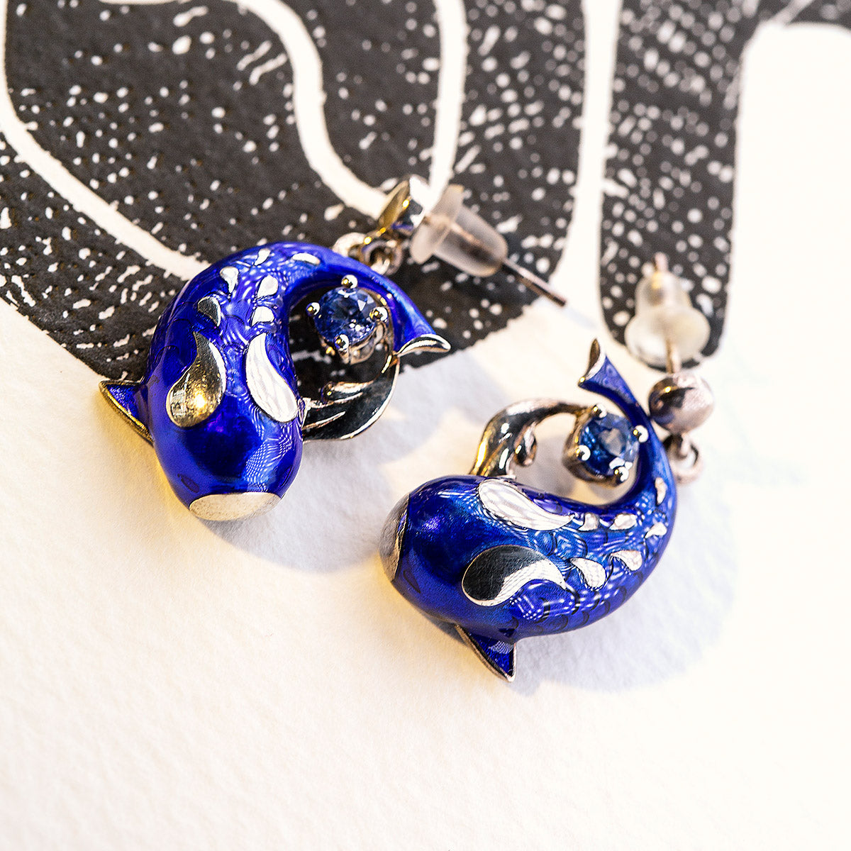 Zen Koi Earrings | Sterling Silver + Blue Epoxy Enamel