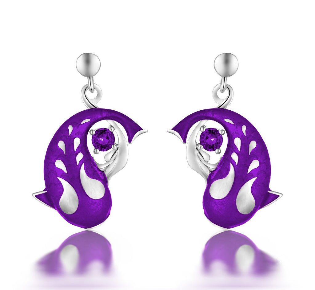 Zen Koi Earrings | Sterling Silver + Purple Epoxy Enamel