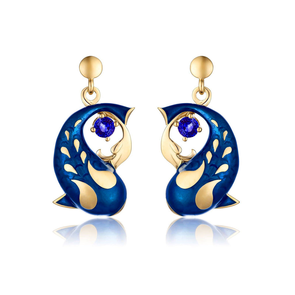 Zen Koi Earrings | 18K Gold + Blue Sapphires+ High-temperature Vitreous Enamel