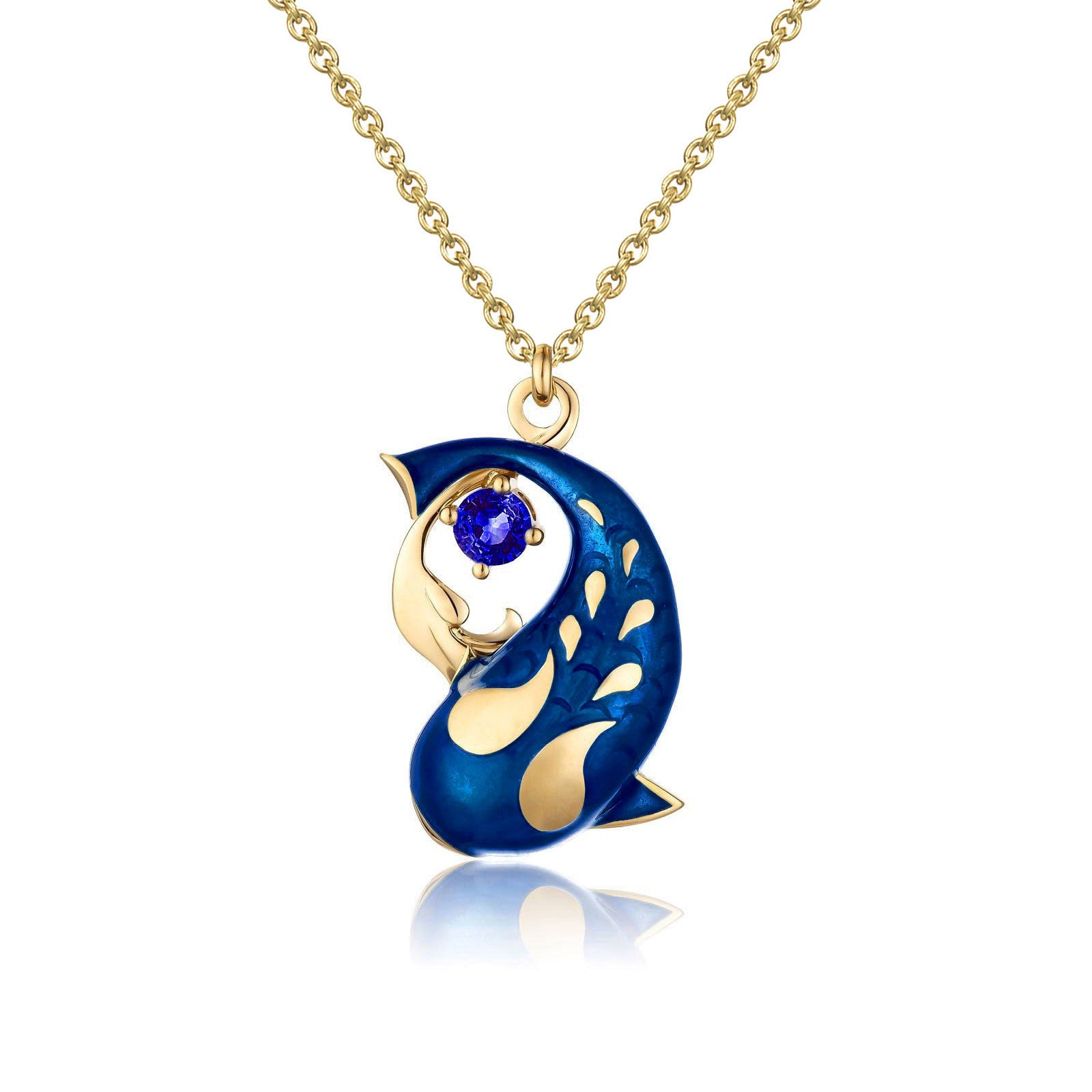 Zen Koi Necklace | 18K Gold +Blue Sapphire+High-temperature Vitreous Enamel