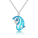 Zen Koi Necklace | Sterling Silver + Lake-blue Epoxy Enamel