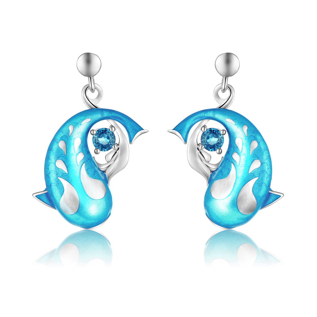 Zen Koi Earrings | Sterling Silver + Lake-blue Epoxy Enamel