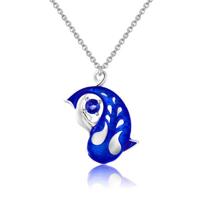 Zen Koi Necklace | Sterling Silver + Blue Epoxy Enamel