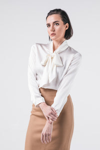 white silk blouse with bow