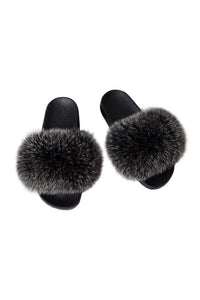 Fox Fur Slides-Grey