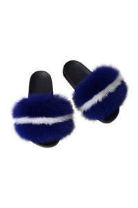 Fox Fur Slides-Blue/White