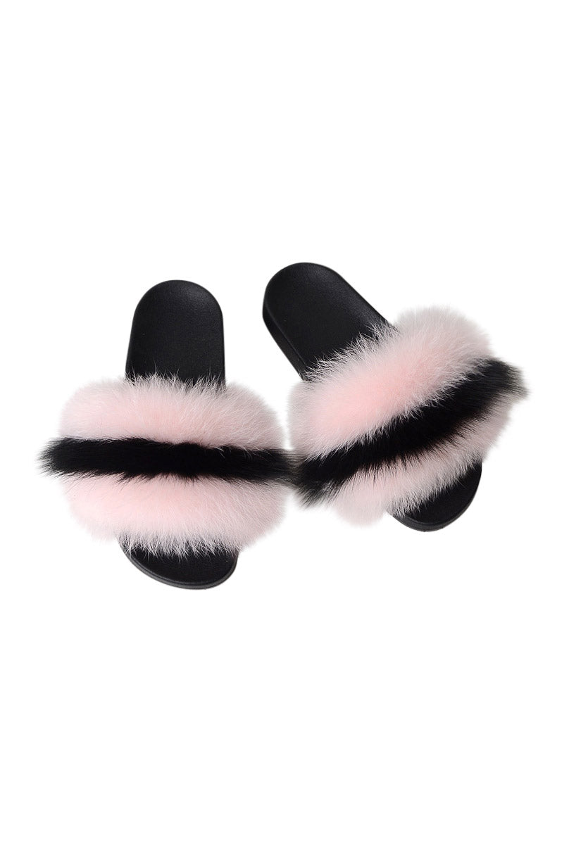 Fox Fur Slides-Pink/Black