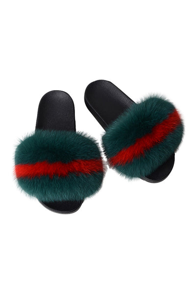 Fox Fur Slides-Army Green/Red