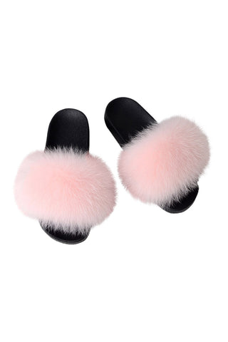 Fox Fur Slides-Pink