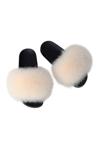Fox Fur Slides-Blush