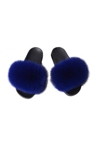 Fox Fur Slides-Blue