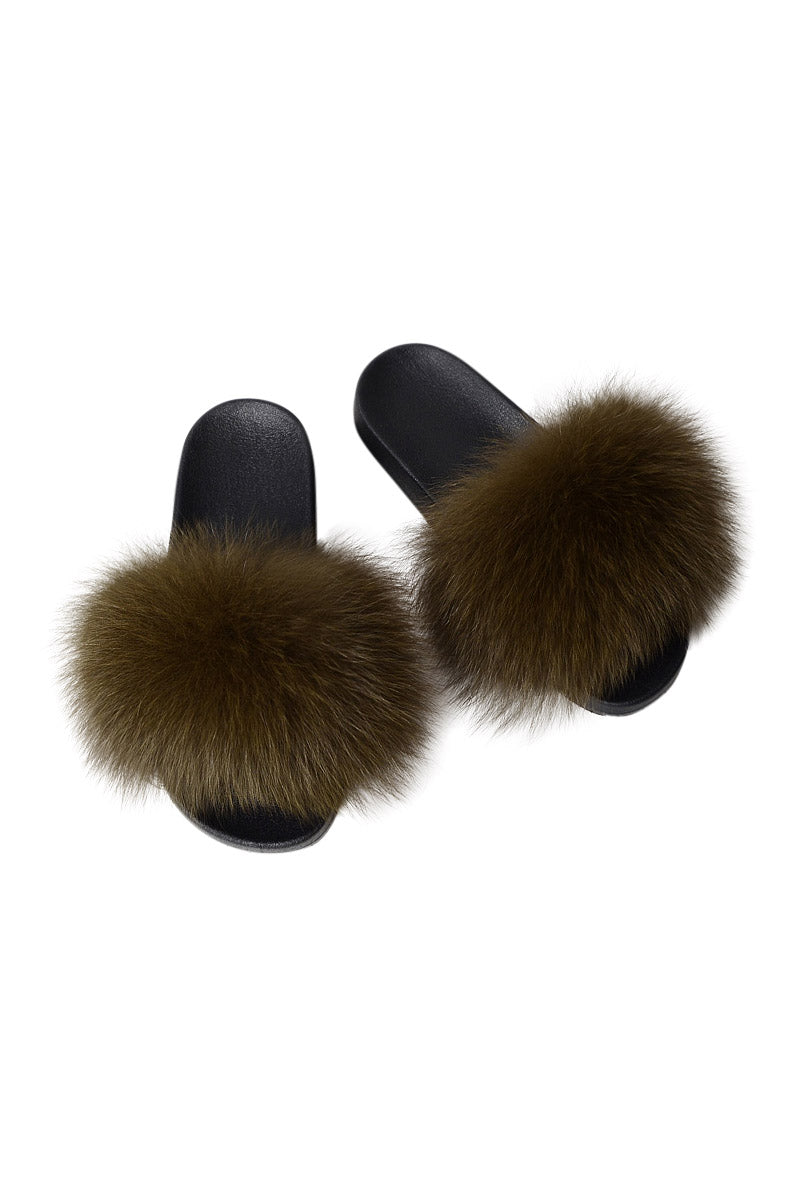 Fur Slides-Army Green