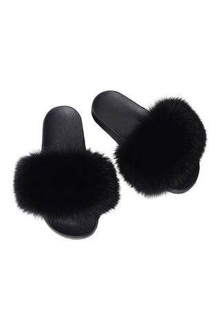Fur Slides-Black