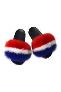 Fur Slides-Red/White/Blue